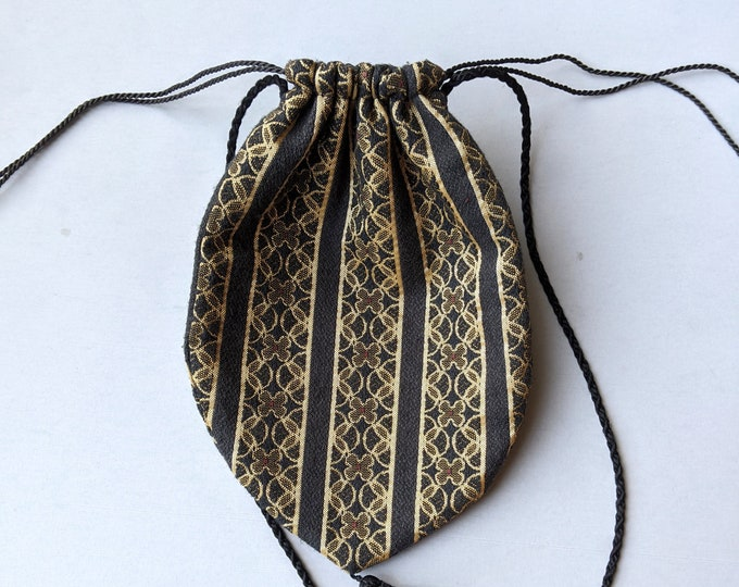 Vintage Gold and Black Brocaded Shoulder Purse - Drawstring Pouch