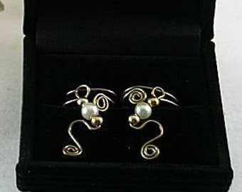 Freshwater Pearls on  Bronze Ear Cuffs