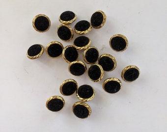 20 Gold Velvet Top Plastic Buttons