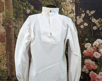 In stock! White Fencing Shirt - Buttoned - SCA Rapier Armor
