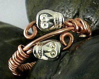 Pewter Skulls on Copper Wire Wrapped  Memento Mori Ring