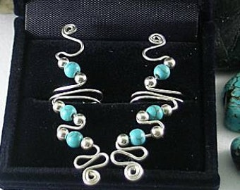 Silver Wire & 3 Turquoise Beads - Vine Ear Cuff