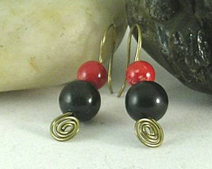 Coral Onyx All in One Spiral Earrings - Celtic - Egyptian - Aztec