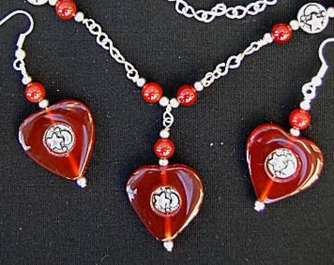 Carnelian Heart with Star - Moon Necklace and Earrings