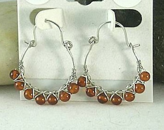 Wire Wrapped Baltic Amber Hoops -  Earrings