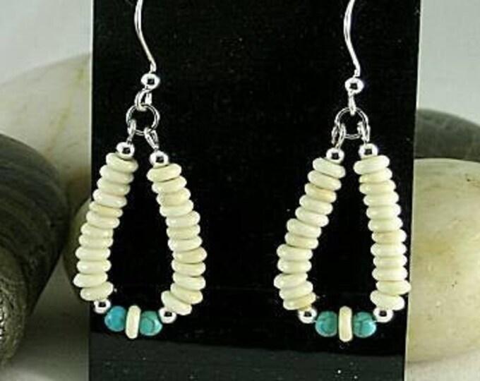 Bone and Turquoise Earrings - Aztec - Native American Loops