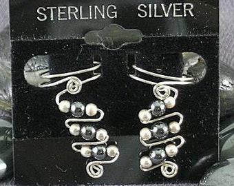 Hematite & Sterling Silver Ear Cuffs - 3A - Sacred Spirals