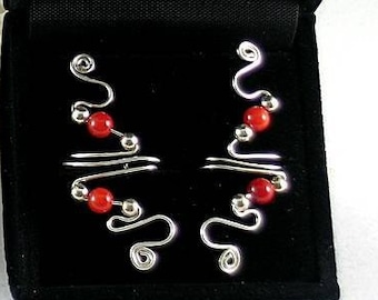 Silver and 2 Coral Vine Ear Cuff - Sacred Spirals