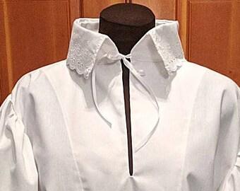 Fencing Shirt w Vine Design Falling Collar & Cuffs - SCA Rapier Armor