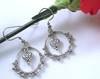 Wire Wrapped Hoop Earrings with Metal Heart