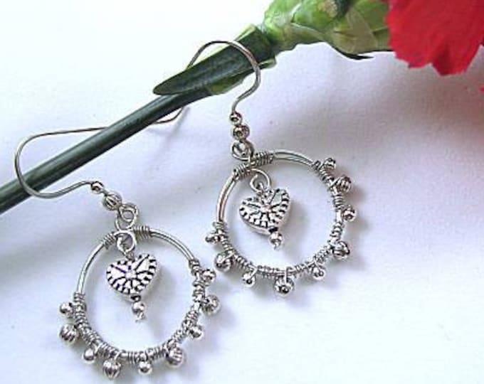 Wire Wrapped Hoop Earrings with Metal Heart