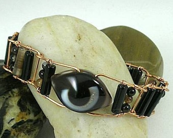 Carved Agate Evil Eye Protection Bracelet with Copper Links
