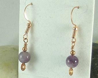 Amethyst Sacred Spiral Earrings - Celtic - Egyptian - Byzantine