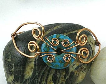 Mosaic Turquoise Donut with Hinged Copper Bracelet - Sacred Spirals
