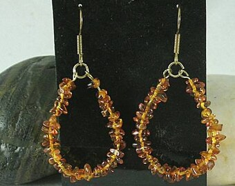 Baltic Amber Chip Loops - Earrings