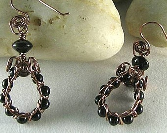 Obsidian Spiral Wire Hoop Earrings - Aztec Egyptian Native American