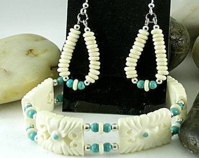 Carved Bone and Turquoise Bracelet & Earring Set - Aztec - Native American Cuff