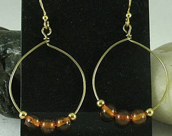 Baltic Amber Beads on Handmade Bronze Hoops #2