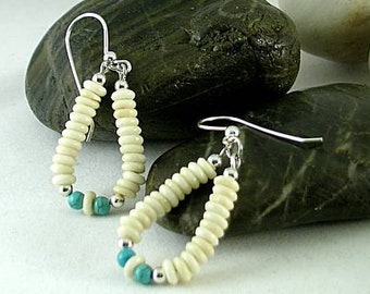 Bone and Turquoise Earrings - Aztec - Native American Loops