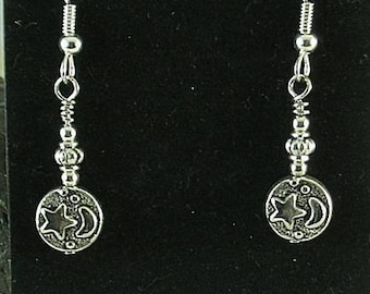 New Beginnings Earrings - Moon and Stars - Egyptian Goddess Nut
