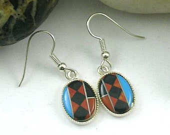 Short Tribal Native American Turquoise Coral Inlay Earrings