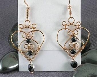 Wire Wrapped Hearts w/ Swarovski Jet Black Hematite Crystals