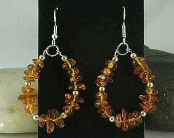 Baltic Amber Chip Loops with Spacer Beads - Earrings