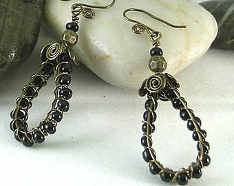 Sacred Spiral Earrings w Dragon Glass Obsidian Beads & Spiral Earwires