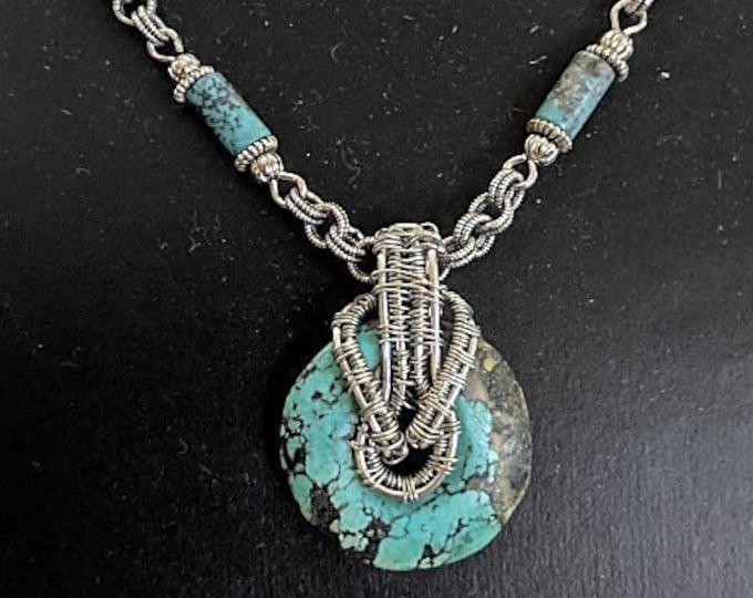 Turquoise Donut Silver Wire Wrapped Pendant Bead Linked Chain Necklace