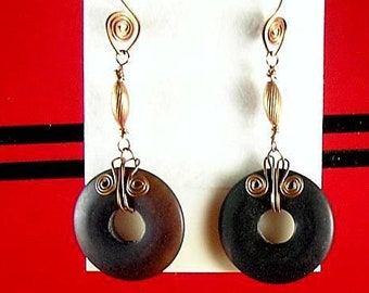 Agate Donut Earrings with Celtic Spirals and Spiral Earwires