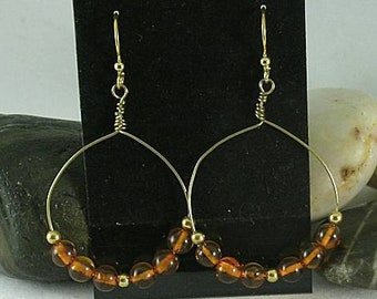 Baltic Amber Beads on Handmade Bronze Hoops