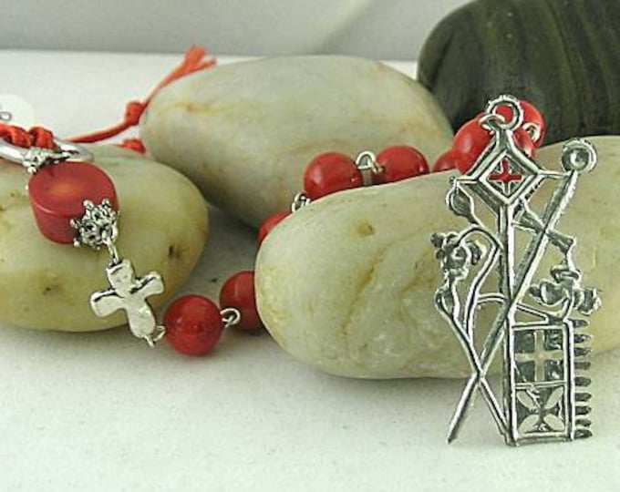 St. Peter and St. Paul Red Bamboo Coral Chaplet -  Paternoster