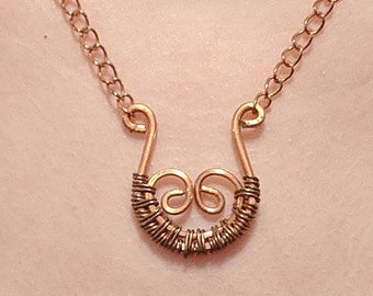 Scroll Wire Wrapped Copper Necklace with Chain