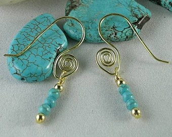 Sacred Spiral Ear wires w/ Turquoise Beads - Egyptian Earrings - Aztec