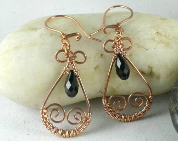 Jet Black Swarovski Crystal  Wire Wrapped Copper Earrings