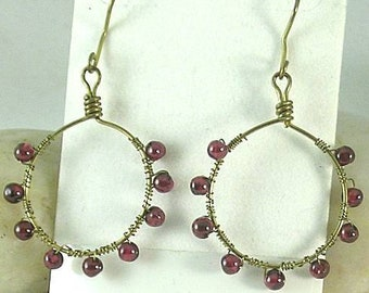 Garnet Beads Wire Wrapped on Handmade Bronze Hoops