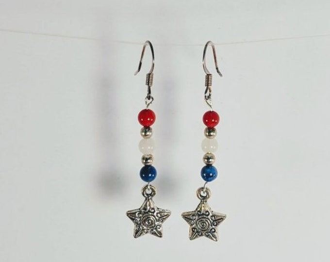 Natural Stone Red, White and Blue Star Earrings - 4th of July - Patriotic