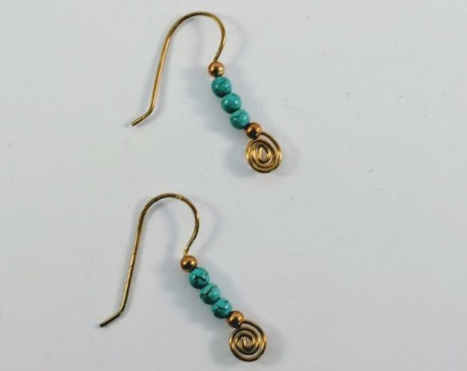 Sacred Spiral Earrings Turquoise Beads - Egyptian - Aztec - Mayan