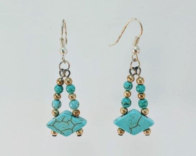 Turquoise Diamond Earrings - Aztec - Native American Cuff - Southwest