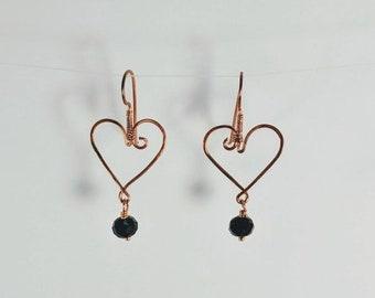 Wire Wrapped Heart w/ Black Crystal Earrings - All in One!