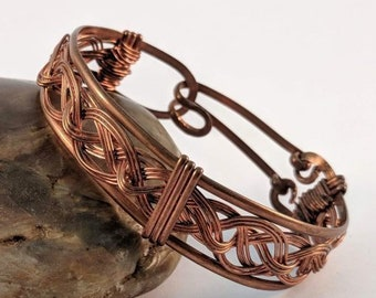 Celtic Knotwork Wire Wrapped Copper Braided Bracelet  Cuff