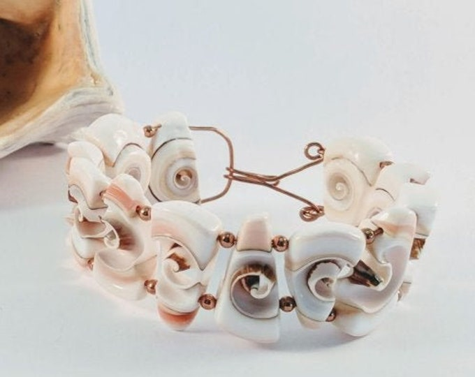Shell Spiral Bracelet w/ Copper Beads and Wire