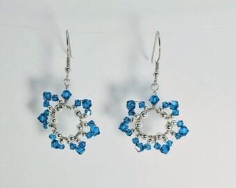 September Birthday Flower Earrings - Sapphire Blue Swarovski Crystals