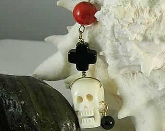 Bone Pirate Skull Coral Tenner Chaplet - Paternoster - Memento Mori