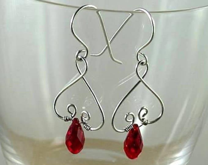 Valentine Garnet Swarovski Crystal Renaissance Earrings - Wire Heart