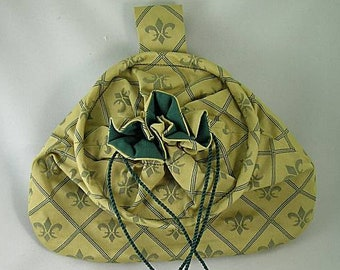 Gold  Drawstring Hoop Belt Pouch - Fleur De Lis -  Renaissance - Victorian