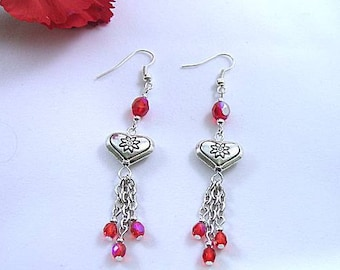 Metal Heart Earrings with Red Crystal Dangles on Chains
