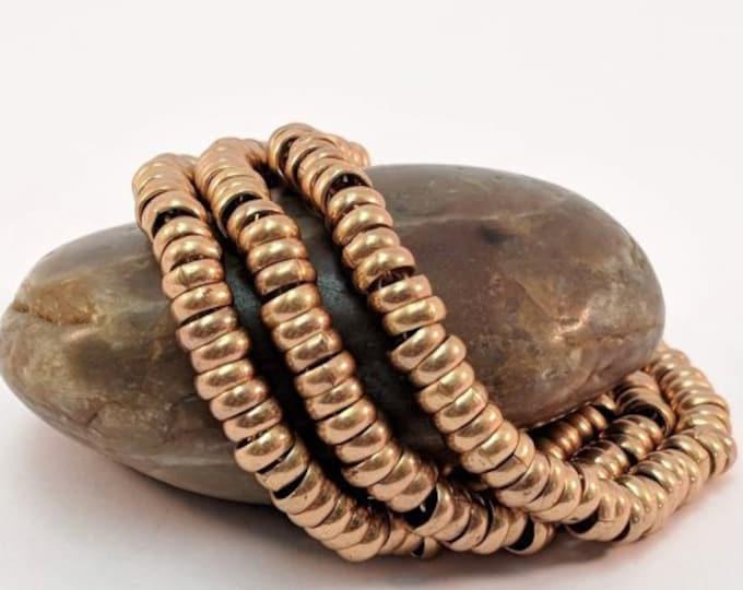 Vintage Shebyu Triple Strand Gold Disc Bracelet - Egyptian 18th Dynasty