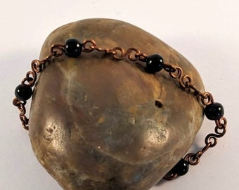 Pure Copper Chain Link Bracelet with Onyx Beads