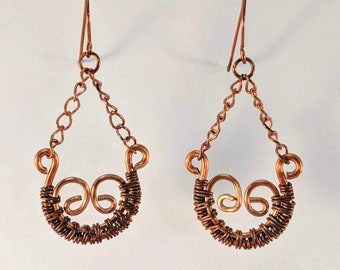 Scroll Wire Wrapped Copper Earrings
